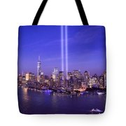 New York City Tribute In Lights World Trade Center Wtc Manhattan Nyc Tote Bag