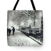 New York City - Winter - Snow At Night Tote Bag