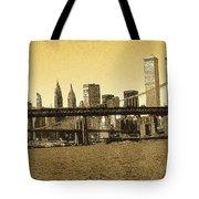New York Downtown Manhattan Skyline - Yellow Panorama Tote Bag