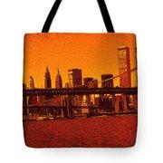 New York Downtown Manhattan Skyline Red Tote Bag