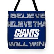 New York Giants I Believe Tote Bag