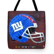 New York Giants Nfl Football Helmet License Plate Art Tote Bag
