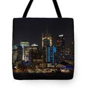 New York In Blue Tote Bag by Mike Reid