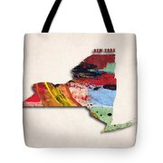 New York Map Art - Painted Map Of New York Tote Bag