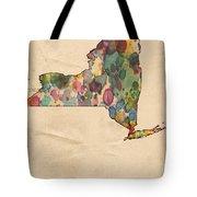 New York Map Vintage Watercolor Tote Bag