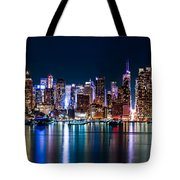 New York Panorama By Night Tote Bag