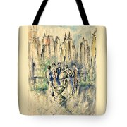New York Roof Party - Watercolor Ink Tote Bag