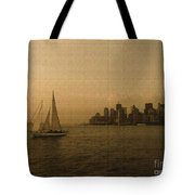 New York Sailing At Sunset Tote Bag by Avis  Noelle