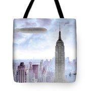 New York Skyline And Blimp Tote Bag