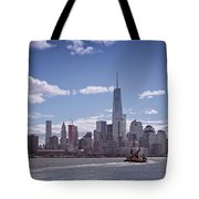 New York Skyline And Boat Tote Bag