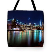 New York Skyline And Brooklyn Bridge With Crescent Moon Rising Tote Bag