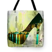 New York Skyline In A Shoe Tote Bag