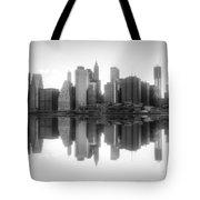 New York Skyline Sunset Bw Tote Bag