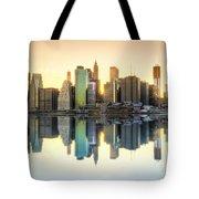 New York Skyline Sunset Tote Bag