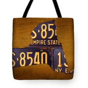 New York State License Plate Map - Empire State Orange Edition Tote Bag