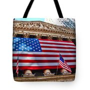 New York Stock Exchange With Us Flag Tote Bag