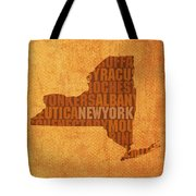 New York Word Art State Map On Canvas Tote Bag