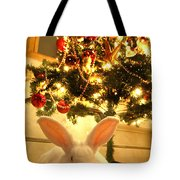 New Zealand White Rabbit Under The Christmas Tree Tote Bag