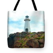 Lighthouse On Cliff Tote Bag