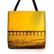 Newport Beach Pier Sunset Panoramic Photo Tote Bag