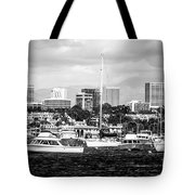 Newport Beach Skyline Black And White Picture Tote Bag by Paul Velgos