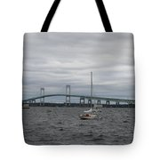 Newport Bridge With Newport Harbor Light Tote Bag