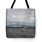 Newport Bridge With Newport Harbor Light Tote Bag