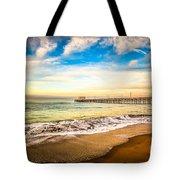 Newport Pier Photo In Newport Beach California Tote Bag by Paul Velgos