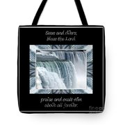 Niagara Falls Seas And Rivers Bless The Lord Praise And Exalt Him Above All Forever Tote Bag