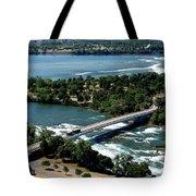 Niagara River And Goat Island Aerial View Tote Bag