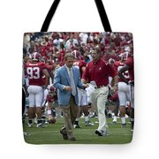 Nick Saban And The Tide Tote Bag by Mountain Dreams