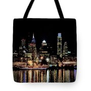 Night At Penn's Landing - Philadelphia Tote Bag