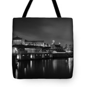 Night At Waterworks In Black And White Tote Bag