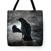 Mysterious Night Crows Tote Bag
