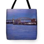 Night Descends Over The Triboro Bridge - Nyc Tote Bag