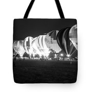 Night Glow Hot Air Balloons Bw Tote Bag