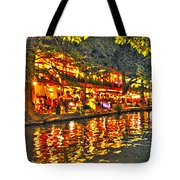 Night Life By The River Walk Tote Bag