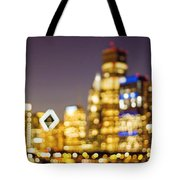 Night Lights - Abstract Chicago Skyline Tote Bag