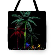 Night Lights Electric Palm Trees Tote Bag
