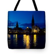 Night Lights In Inverness Tote Bag