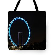 Night Shot Of The Singapore Flyer Ferris Wheel At Marina Bay Tote Bag