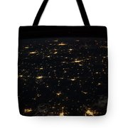Night Time Satellite Image Of Cities Tote Bag