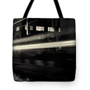 Night Train Black And White Tote Bag