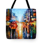 Night Umbrellas - Palette Knife Oil Painting On Canvas By Leonid Afremov Tote Bag