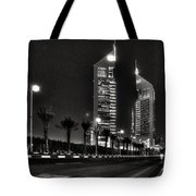 Night View Of Emirates Towers In Dubai Tote Bag