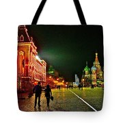 Night View Of Gum And Saint Basil Cathedral In Red Square In Moscow-russia Tote Bag