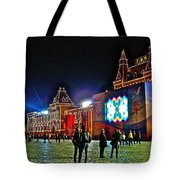 Night View Of Gum-former State Department Store-in Red Square In Moscow-russia Tote Bag