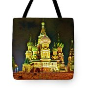 Night View Of Saint Basil Cathedral In Red Square In Moscow-russia Tote Bag