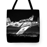 Night Vision Beechcraft T-34 Mentor Military Training Airplane Tote Bag