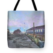 Nightfall On The Metal Mountain At Schnitzer Steel Tote Bag by Asha Carolyn Young